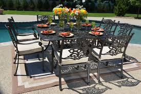 Square Patio Tables Serena Luxury 8 Person All Welded Cast Aluminum Patio Furniture