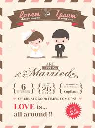 Free Invitation Cards Template Wedding Invitation Card Template With Cute Groom And Bride Cartoon