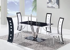 black and white dining table with contemporary rectangle table