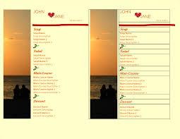 free wedding food menu template templates at