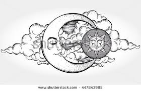 bohemian hand drawn sun moon tattoo stock vector 414846640