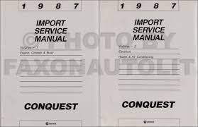 chrysler conquest 1987 chrysler conquest repair shop manual original 2 volume set