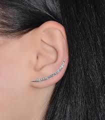one ear earring curved ear climber earring silver textured bar stud