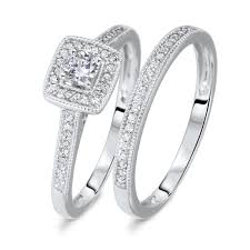 engagement sets 1 3 ct t w cut diamond bridal wedding ring set 10k
