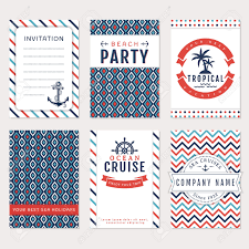 set of nautical and marine banners card templates in white