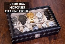 personalized box black leather watches box with 10 slots engraved display