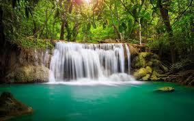 papier peint bureau pc fond ecran nature hd cascade dans forêt exotique wallpaper paysage