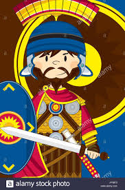 cute cartoon ancient roman centurion soldier with sword and shield