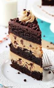 peanut butter cookie dough brownie layer cake and sugar