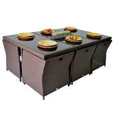 buy luna 13pc outdoor pe wicker garden dining setting brown