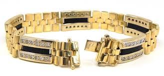 men gold tone bracelet images Men 39 s 14k two tone 1 67 cts diamonds black onyx bracelet jpg