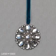 elegant crystal jeweled christmas ornaments in silver with blue