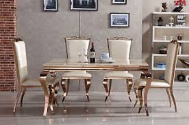 gold dining table set rose gold dining set marble beige top dining table chairs leather 4