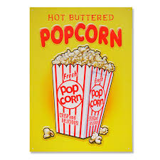Metal Signs Home Decor by Buttered Popcorn Snack Bar Metal Sign Home Theater Decor
