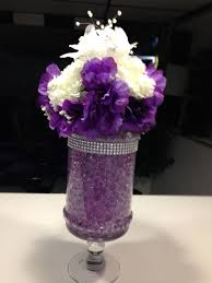 purple centerpieces wedding centerpiece with purple water metallic silver