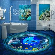 free shipping 3d beautiful underwater world dolphin tiles ground