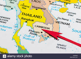 Maps Of Asia by Red Arrow Pointing Cambodia On The Map Of Asia Continent Stock