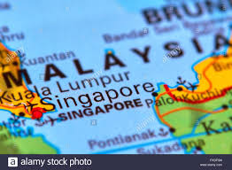 Asia On Map by Singapore City State In Asia On The World Map Stock Photo Royalty