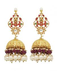 new jhumka earrings golden jhumka earrings with multicolored stones new arrivals
