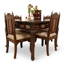ExclusiveLane Teak Wood  Seater Dining Table  Chair With Warli - Teak dining table and chairs india