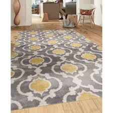 Modern Area Rugs 6x9 Moroccan Trellis Contemporary Gray Yellow 7 Ft 10 In X 10 Ft 2