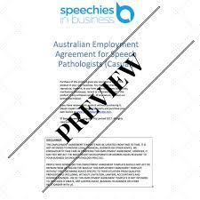 australian employment agreement template for speech pathologists