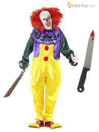 mens scary killer clown costume mask knife halloween
