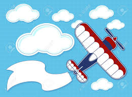 funny airplane cartoon blank banner blue background