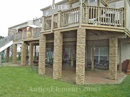 deck post stone veneer deck design and ideas