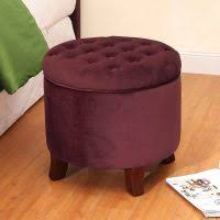 button tufted round storage ottoman brown and tel paisley homepop