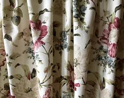 Brown Floral Curtains Vintage Curtains Etsy