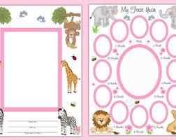 sonogram photo album premade scrapbook pages baby girl safari jungle animals year
