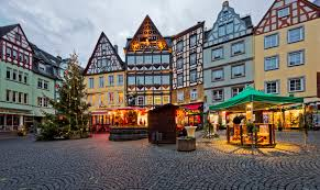 germany christmas holidays houses cochem christmas tree street