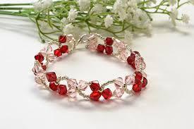 crystal bracelet diy images Beading design crafts diy pink clover crystal beaded bracelet jpg