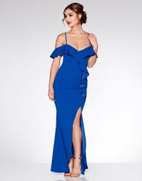 quiz crepe ruffle cold shoulder maxi dress bluewater 55 00