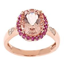 pink morganite morganite pink sapphire and diamond accent ring in 14k gold