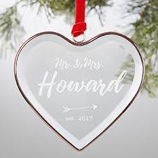 Etched Glass Ornaments Personalized Personalized Bronze Wedding Ornament Sparkling Love