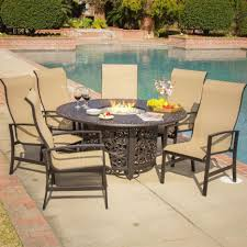 fire pit patio dining table with outdoor set monticello chat sling