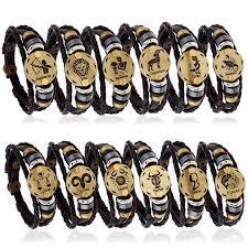 bracelet handmade leather images Fashionable europe 12 zodiac bracelet handmade leather charm jpg