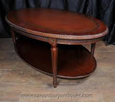 leather top side table antique mahogany round side table w gold leaf embossed leather top