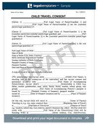 sample travel consent letter child travel consent form