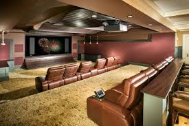 brown wooden storage basement home theater design l shape brown