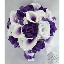 white bouquet purple white picasso calla bouquets corsages boutonnieres