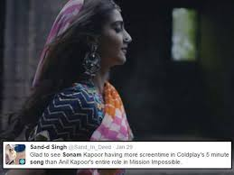 coldplay jokes 13 tweets that humorously sum up sonam s cameo in coldplay s new