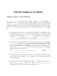 spa sample mortgage law power of attorney