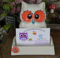 Desk Card Holders For Business Cards Owl Business Card Holder Office Desk Decor By Enchantdmushroomland