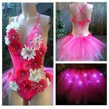 Moon Goddess Fairy Monokini Bra Cosplay Dance Costume Rave Bra by Electric Daisy Led Butterfly Rhinestone Pink Fairy Monokini Rave