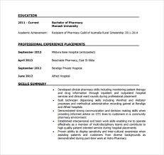Monash Resume Sample by Sample Pharmacist Resume 9 Download Documents In Pdf