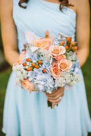 peach and blue wedding flowers flowers