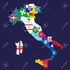 Map Of Calabria Italy by Map Of Italy With Italian Provinces Marked By Their Flags Stock